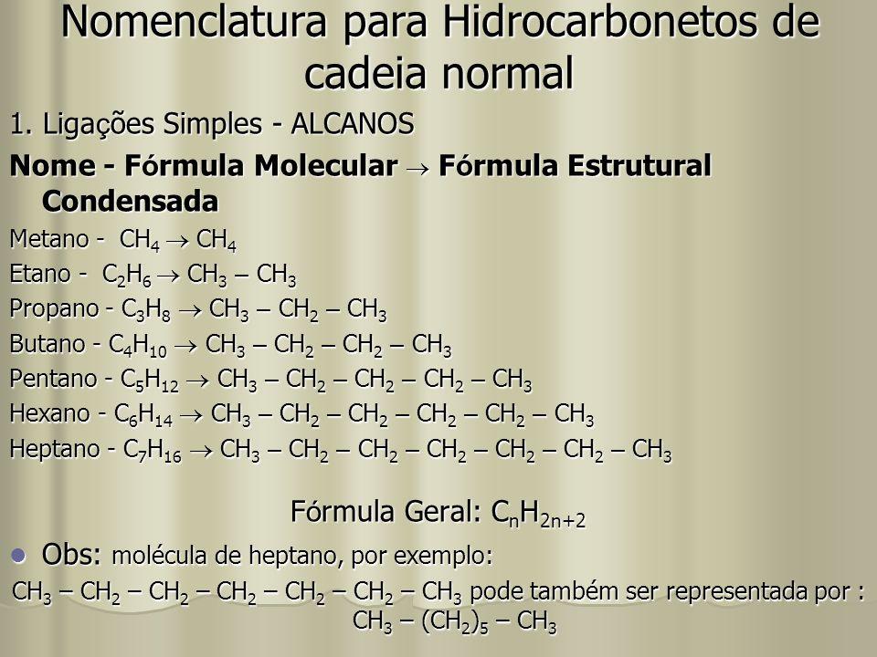 Nomenclatura para Hidrocarbonetos de cadeia normal