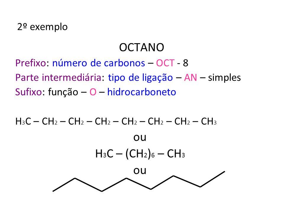 OCTANO ou H3C – (CH2)6 – CH3 2º exemplo