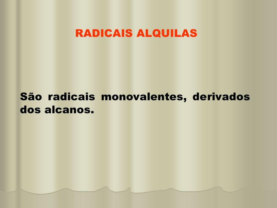 RADICAIS ALQUILAS São radicais monovalentes, derivados dos alcanos.