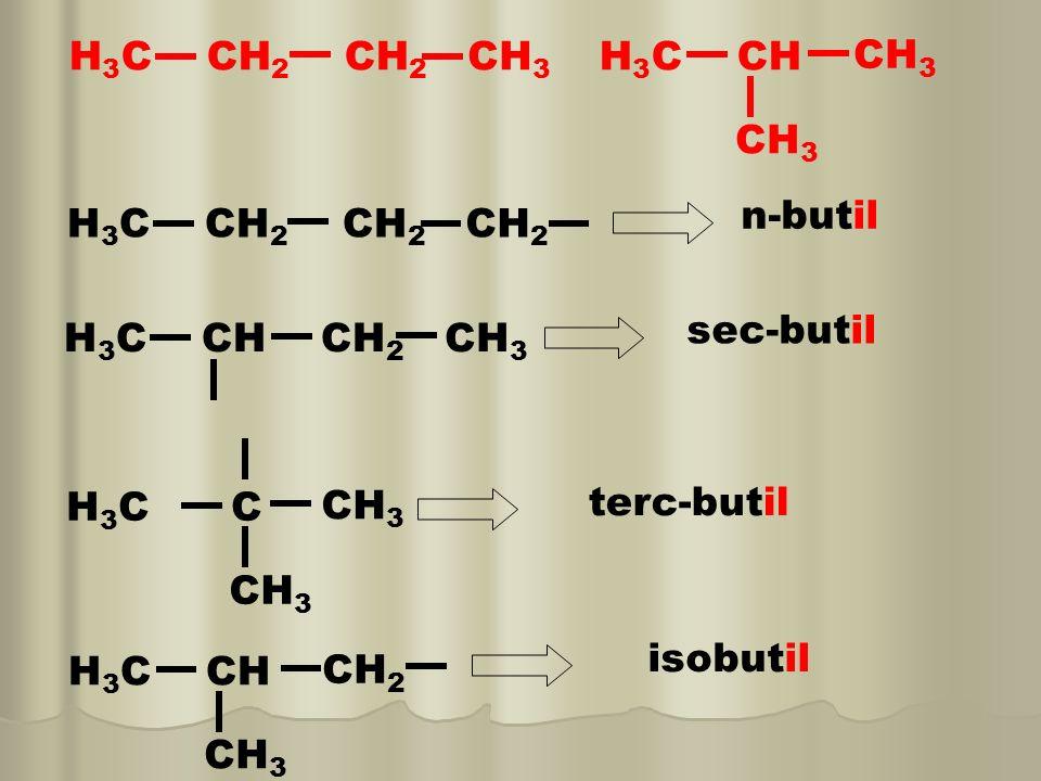 H3C CH2 CH2 CH3. H3C CH. CH3. n-butil. H3C CH2 CH2. CH2. sec-butil. H3C CH CH2.