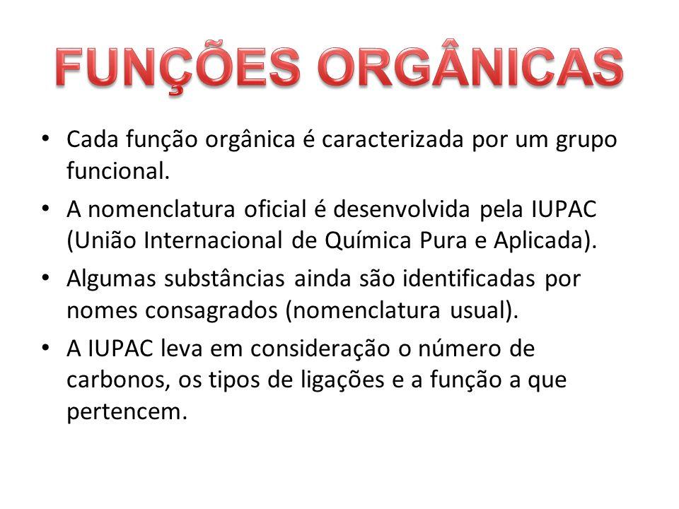 FUNÇÕES ORGÂNICASCada função orgânica é caracterizada por um grupo funcional.