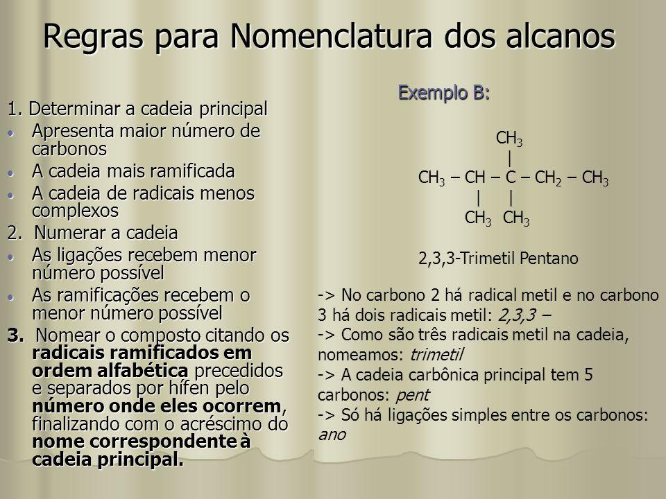 Regras para Nomenclatura dos alcanos