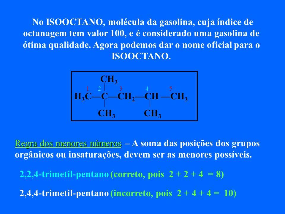 No ISOOCTANO, molécula da gasolina, cuja índice de octanagem tem valor 100, e é considerado uma gasolina de ótima qualidade. Agora podemos dar o nome oficial para o ISOOCTANO.
