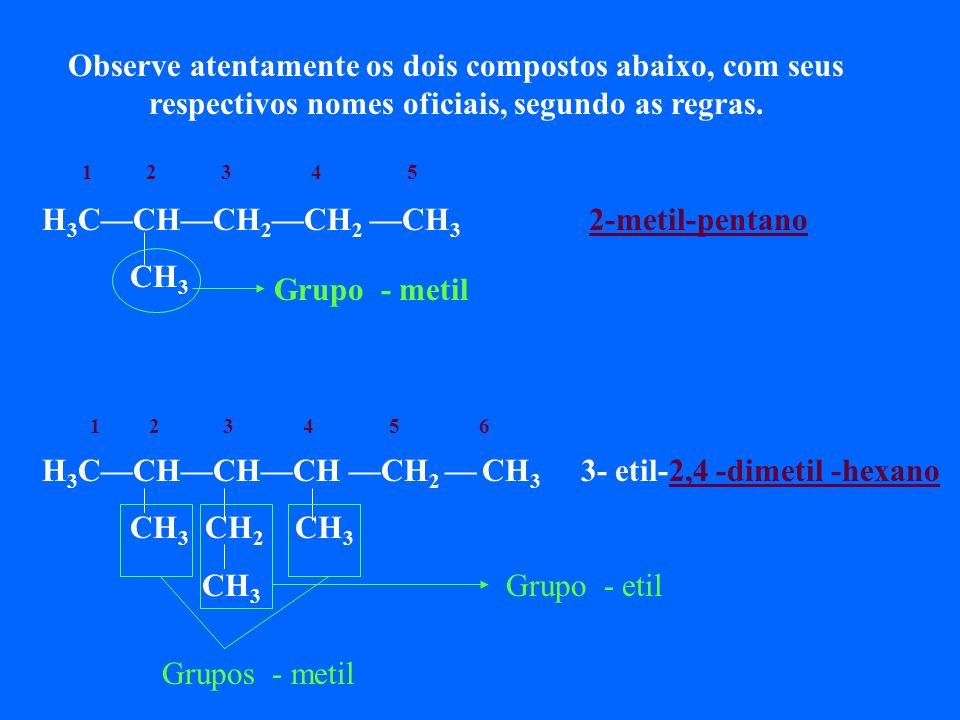 Observe atentamente os dois compostos abaixo, com seus respectivos nomes oficiais, segundo as regras.