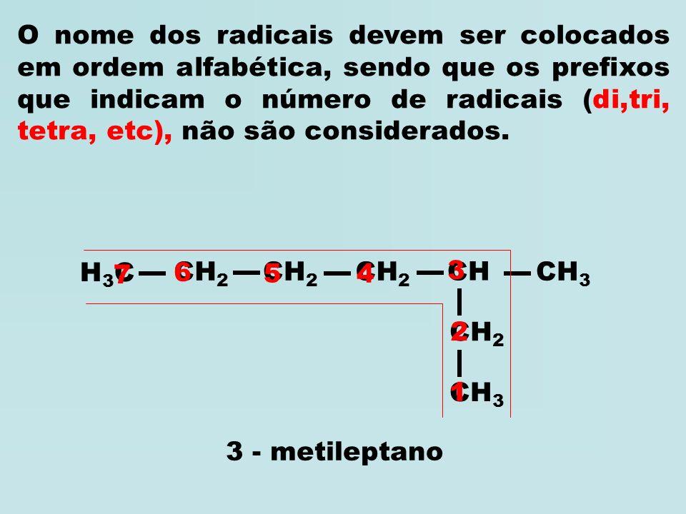 O nome dos radicais devem ser colocados em ordem alfabética, sendo que os prefixos que indicam o número de radicais (di,tri, tetra, etc), não são considerados.