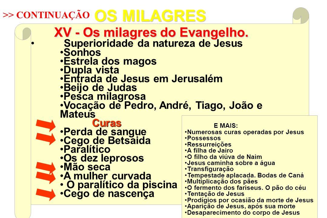 XV - Os milagres do Evangelho.
