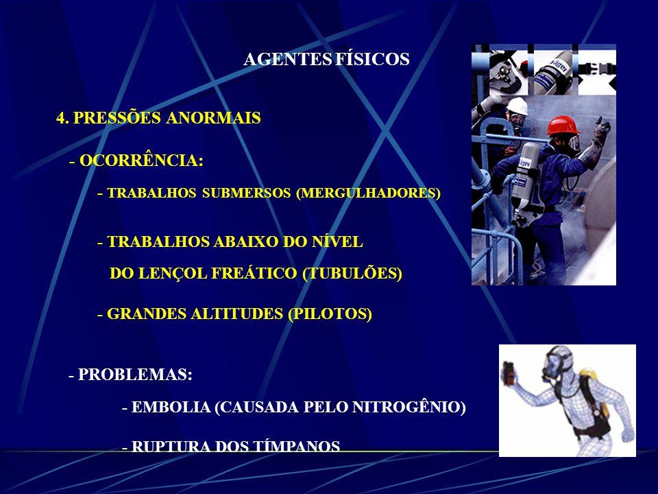 AGENTES FÍSICOS 4. PRESSÕES ANORMAIS - OCORRÊNCIA: