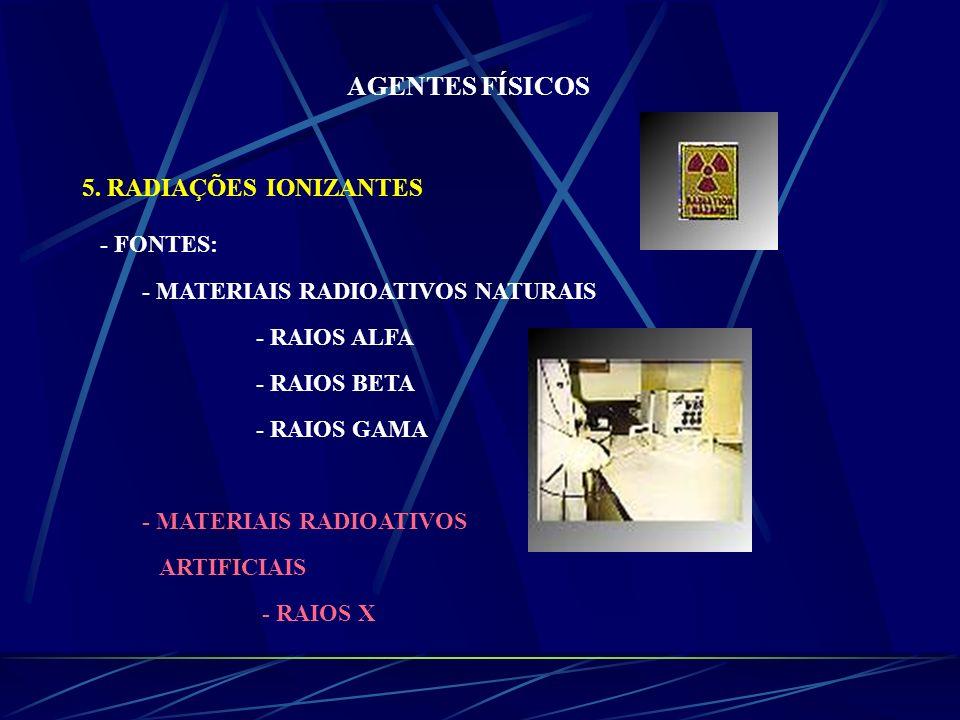 AGENTES FÍSICOS 5. RADIAÇÕES IONIZANTES - FONTES: