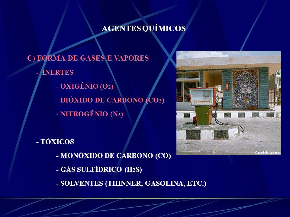 AGENTES QUÍMICOS C) FORMA DE GASES E VAPORES - INERTES - OXIGÊNIO (O2)