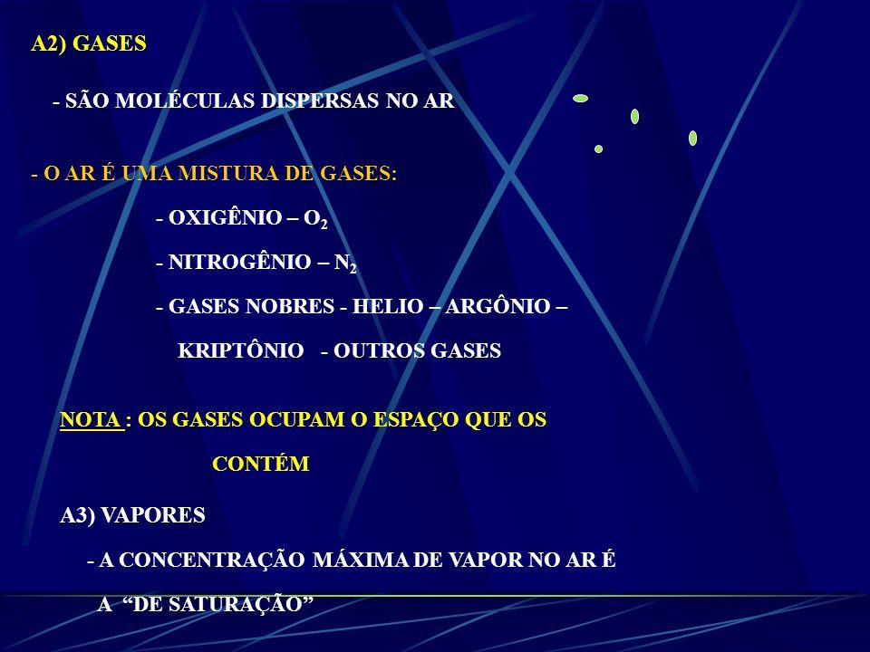 A2) GASES A3) VAPORES - SÃO MOLÉCULAS DISPERSAS NO AR