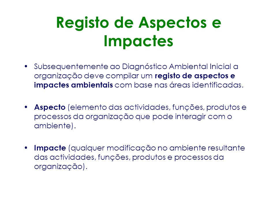 Registo de Aspectos e Impactes