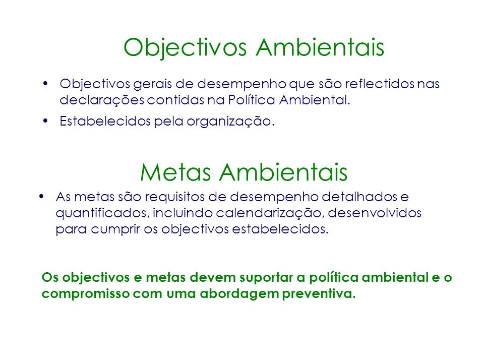 Objectivos Ambientais