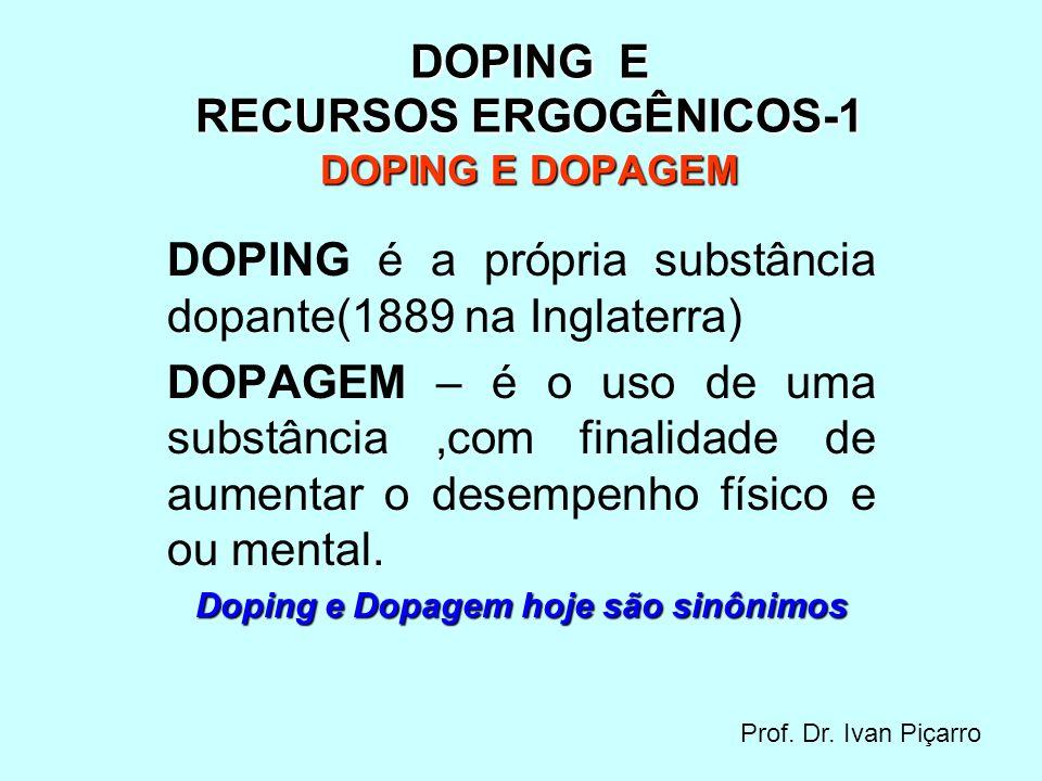 DOPING E RECURSOS ERGOGÊNICOS-1 DOPING E DOPAGEM
