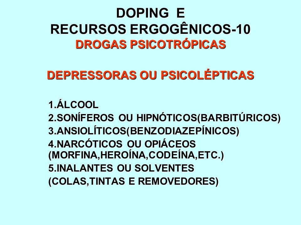 DOPING E RECURSOS ERGOGÊNICOS-10 DROGAS PSICOTRÓPICAS