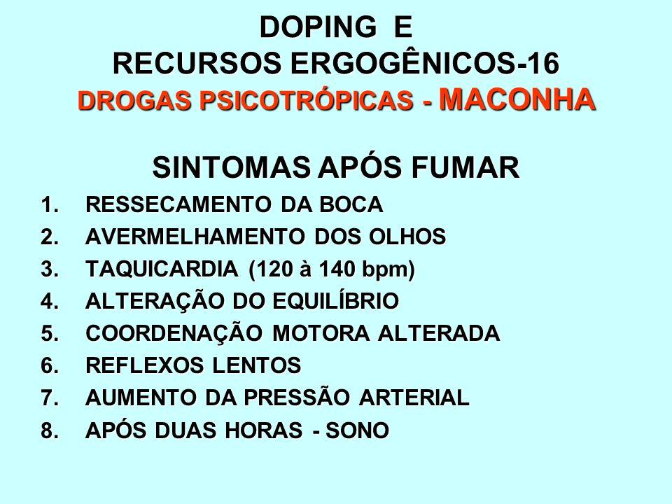 DOPING E RECURSOS ERGOGÊNICOS-16 DROGAS PSICOTRÓPICAS - MACONHA