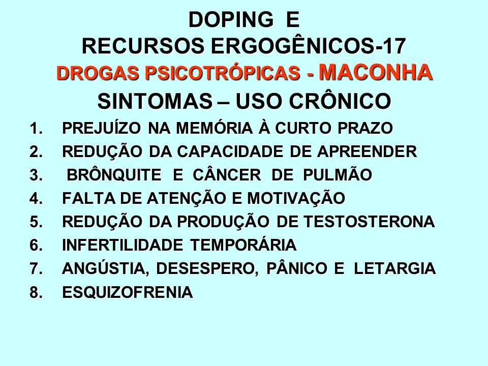 DOPING E RECURSOS ERGOGÊNICOS-17 DROGAS PSICOTRÓPICAS - MACONHA