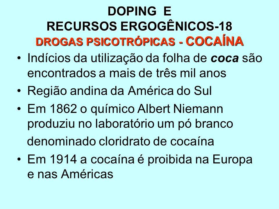 DOPING E RECURSOS ERGOGÊNICOS-18 DROGAS PSICOTRÓPICAS - COCAÍNA