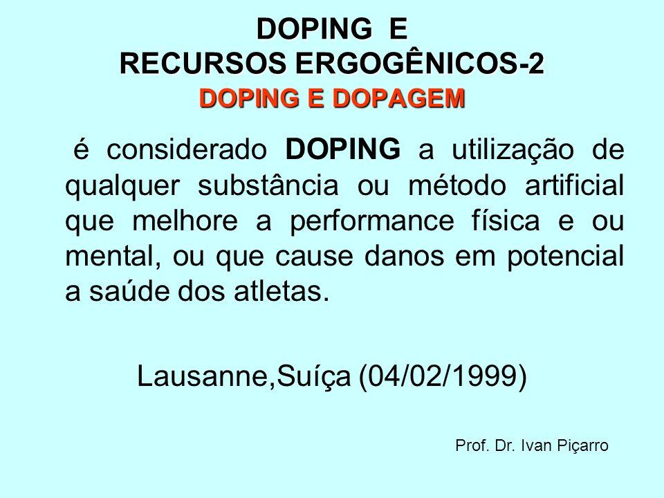 DOPING E RECURSOS ERGOGÊNICOS-2 DOPING E DOPAGEM