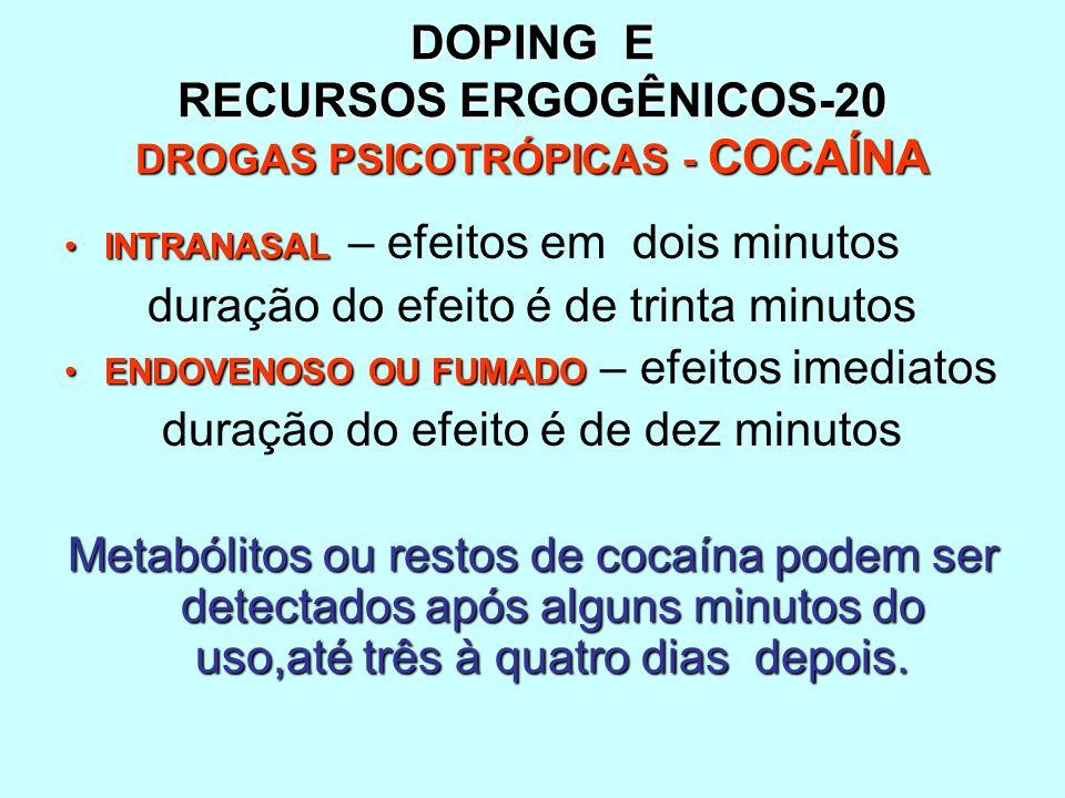 DOPING E RECURSOS ERGOGÊNICOS-20 DROGAS PSICOTRÓPICAS - COCAÍNA