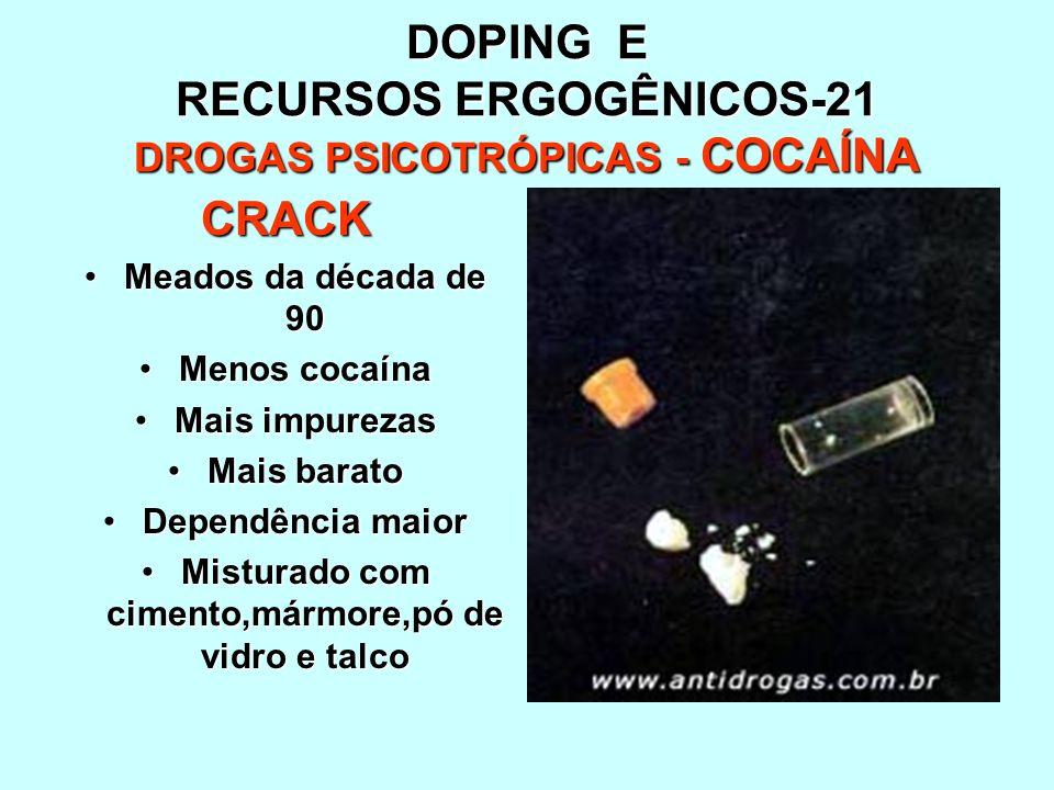 DOPING E RECURSOS ERGOGÊNICOS-21 DROGAS PSICOTRÓPICAS - COCAÍNA