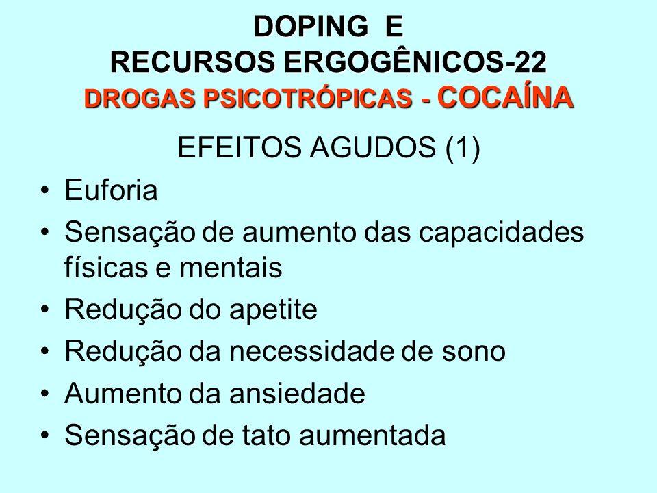 DOPING E RECURSOS ERGOGÊNICOS-22 DROGAS PSICOTRÓPICAS - COCAÍNA