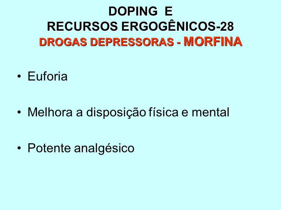 DOPING E RECURSOS ERGOGÊNICOS-28 DROGAS DEPRESSORAS - MORFINA