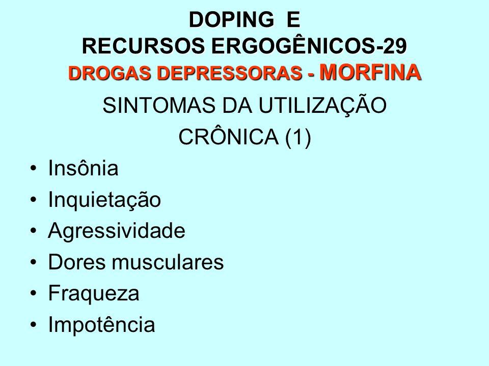 DOPING E RECURSOS ERGOGÊNICOS-29 DROGAS DEPRESSORAS - MORFINA