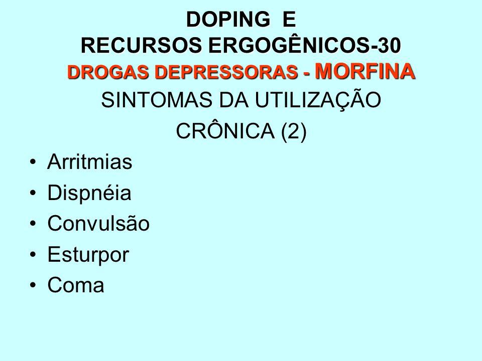 DOPING E RECURSOS ERGOGÊNICOS-30 DROGAS DEPRESSORAS - MORFINA