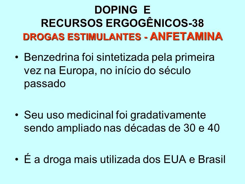 DOPING E RECURSOS ERGOGÊNICOS-38 DROGAS ESTIMULANTES - ANFETAMINA
