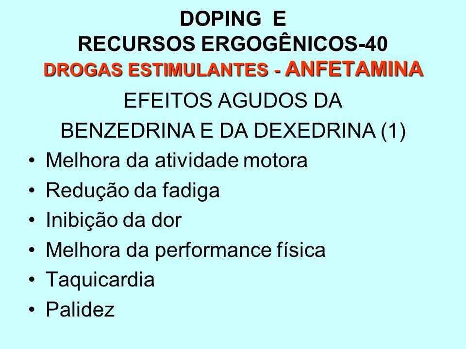 DOPING E RECURSOS ERGOGÊNICOS-40 DROGAS ESTIMULANTES - ANFETAMINA