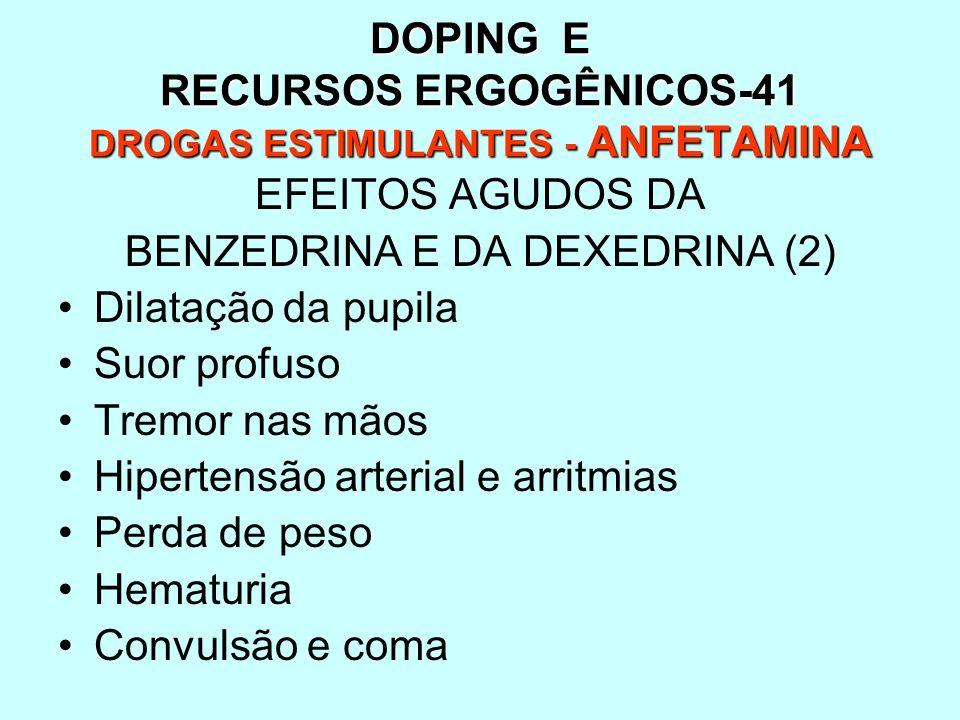 DOPING E RECURSOS ERGOGÊNICOS-41 DROGAS ESTIMULANTES - ANFETAMINA