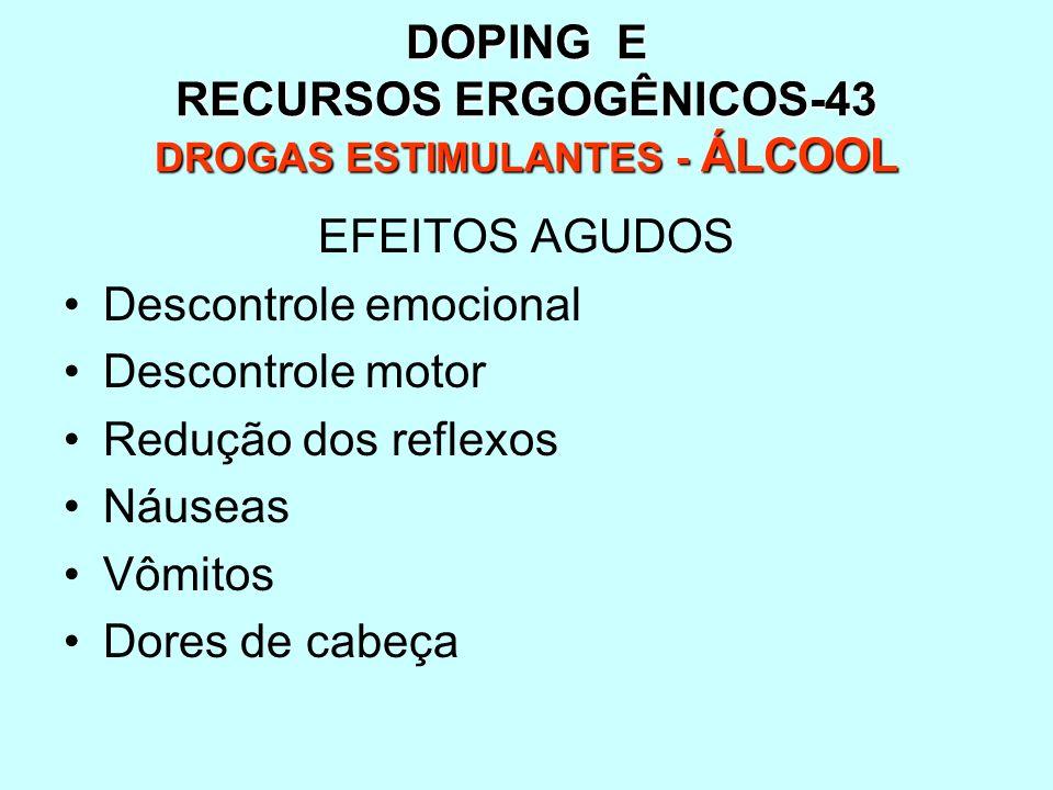 DOPING E RECURSOS ERGOGÊNICOS-43 DROGAS ESTIMULANTES - ÁLCOOL