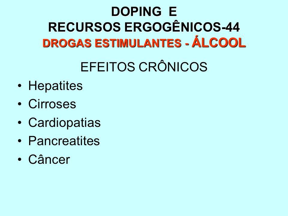 DOPING E RECURSOS ERGOGÊNICOS-44 DROGAS ESTIMULANTES - ÁLCOOL