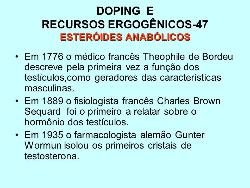 DOPING E RECURSOS ERGOGÊNICOS-47 ESTERÓIDES ANABÓLICOS