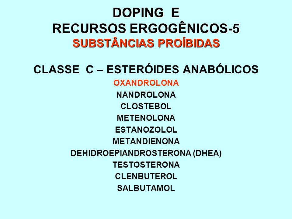 DOPING E RECURSOS ERGOGÊNICOS-5 SUBSTÂNCIAS PROÍBIDAS