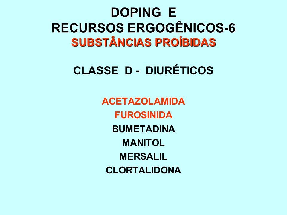 DOPING E RECURSOS ERGOGÊNICOS-6 SUBSTÂNCIAS PROÍBIDAS