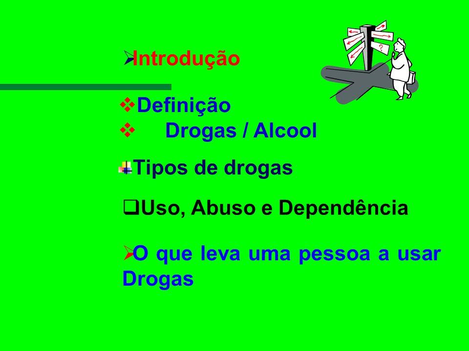 Introdução Definição. Drogas / Alcool. Tipos de drogas.