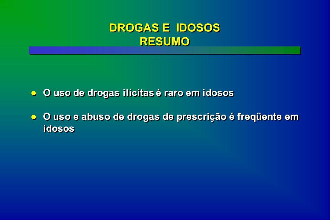 DROGAS E IDOSOS RESUMO O uso de drogas ilícitas é raro em idosos