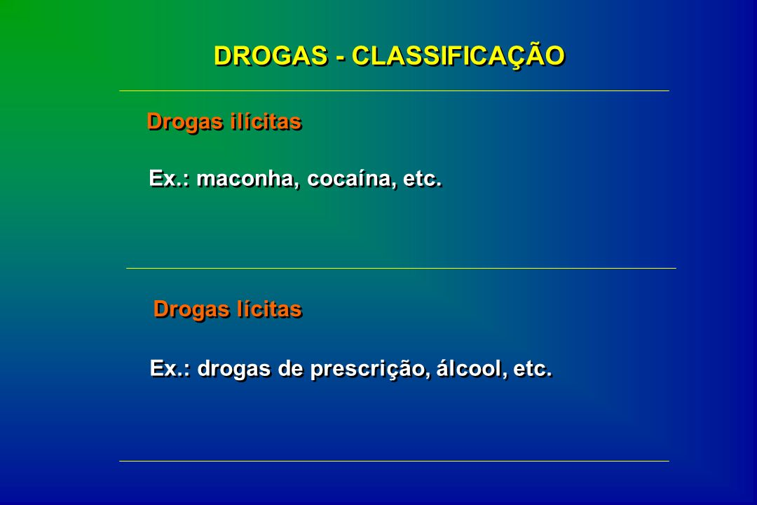 DROGAS - CLASSIFICAÇÃO