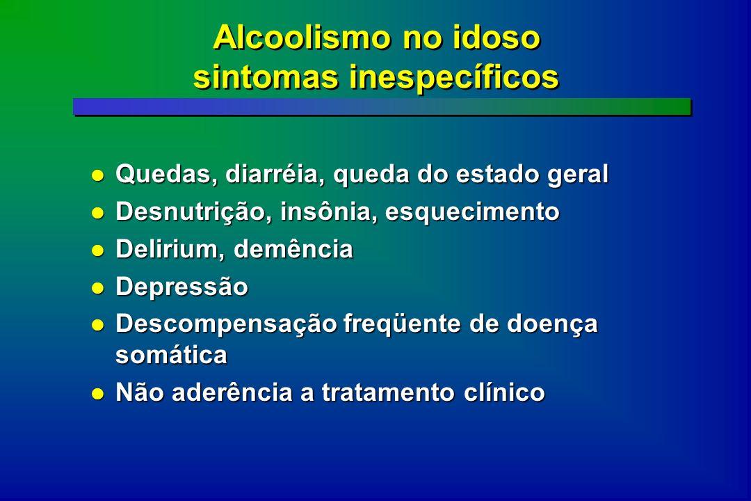 Alcoolismo no idoso sintomas inespecíficos