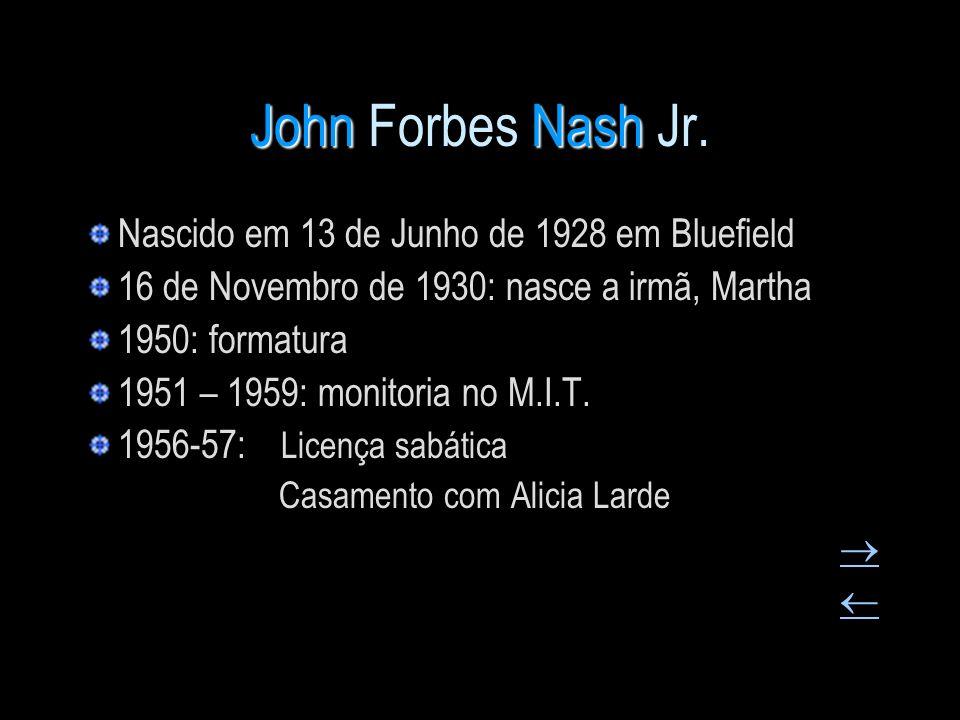 John Forbes Nash Jr. Nascido em 13 de Junho de 1928 em Bluefield