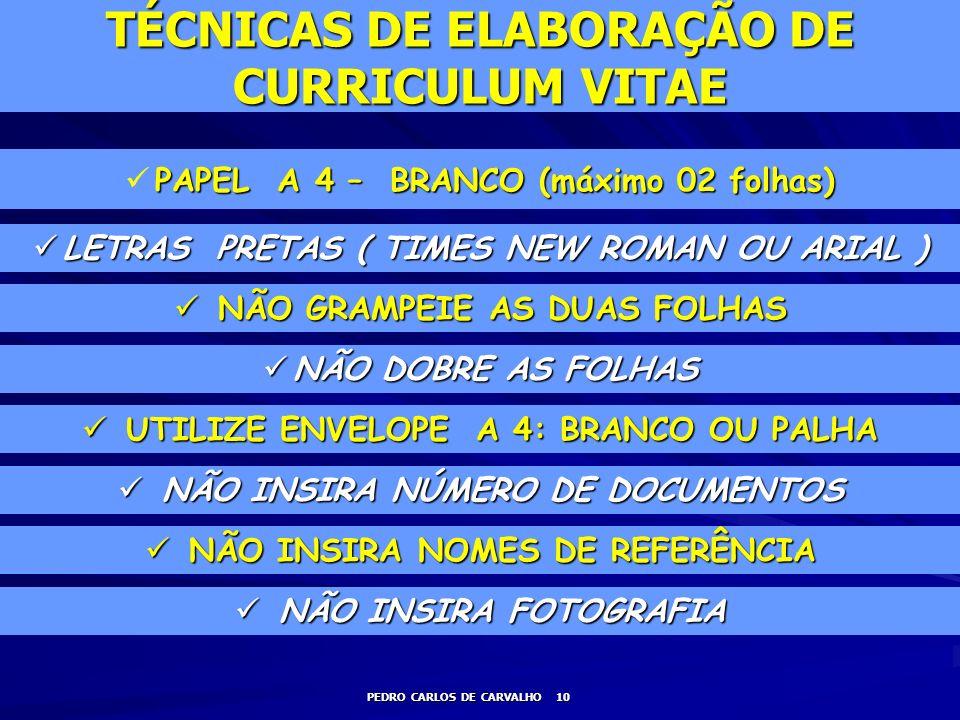 TÉCNICAS DE ELABORAÇÃO DE CURRICULUM VITAE