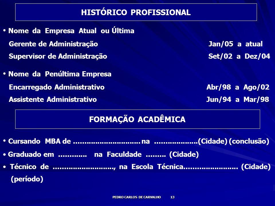 HISTÓRICO PROFISSIONAL PEDRO CARLOS DE CARVALHO 13