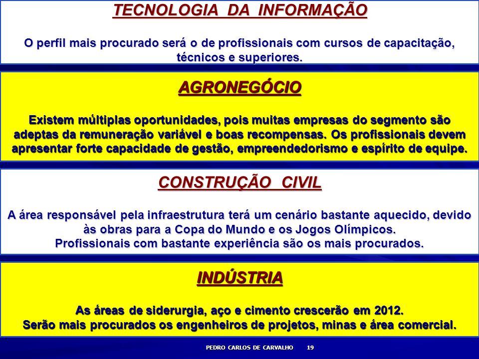 TECNOLOGIA DA INFORMAÇÃO AGRONEGÓCIO CONSTRUÇÃO CIVIL INDÚSTRIA