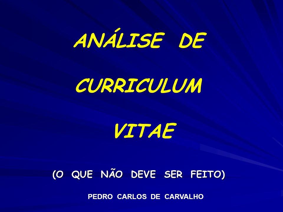 ANÁLISE DE CURRICULUM VITAE