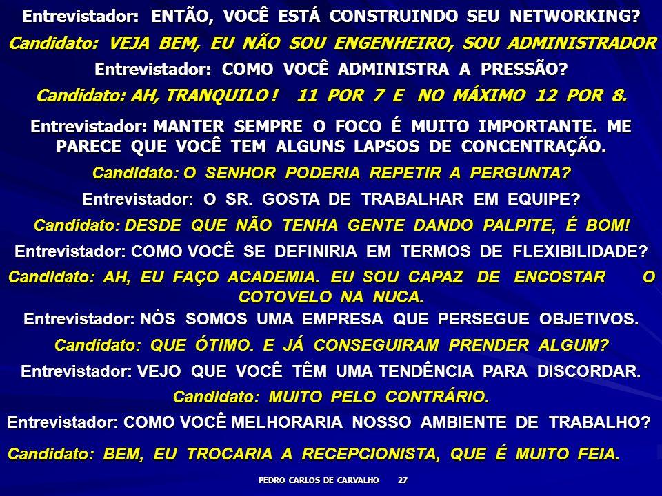 Entrevistador: ENTÃO, VOCÊ ESTÁ CONSTRUINDO SEU NETWORKING