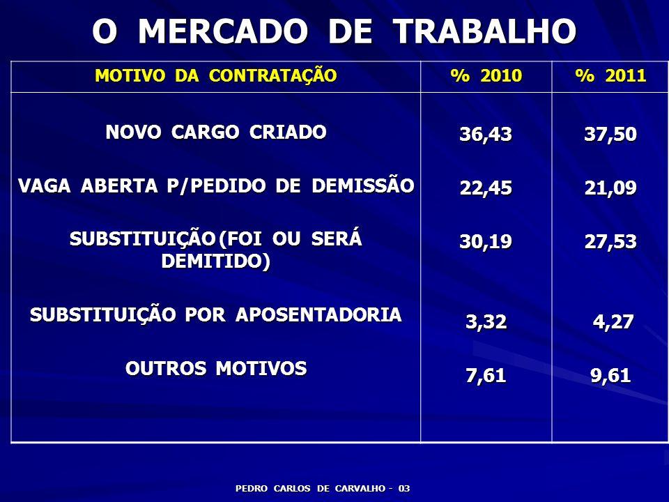 O MERCADO DE TRABALHO NOVO CARGO CRIADO