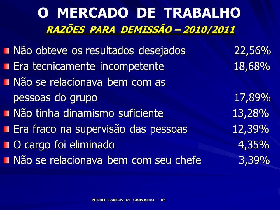 RAZÕES PARA DEMISSÃO – 2010/2011