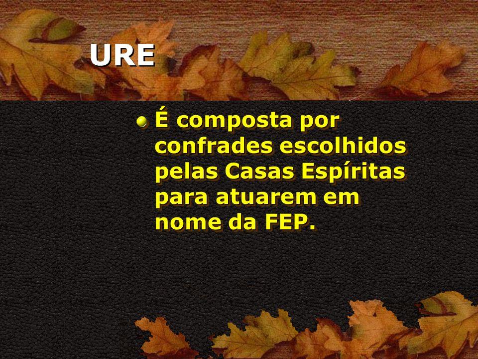URE É composta por confrades escolhidos pelas Casas Espíritas para atuarem em nome da FEP.