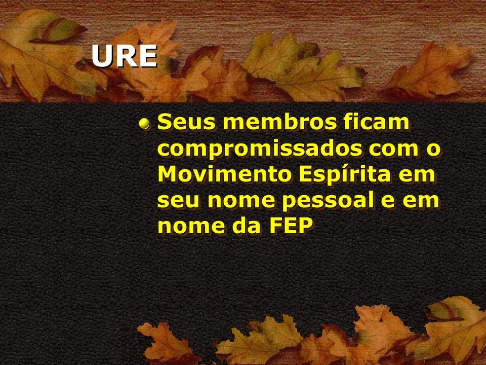 URE Seus membros ficam compromissados com o Movimento Espírita em seu nome pessoal e em nome da FEP